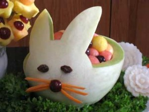 Bunny Carved from Honeydew Melon
