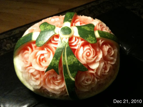 Carved watermelon Christmas bow