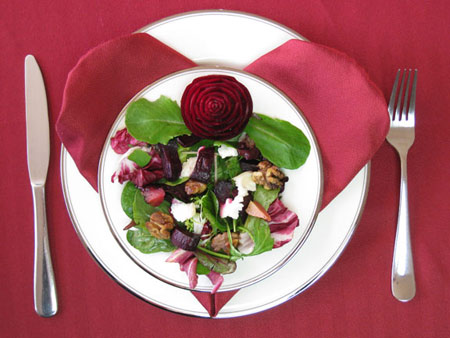 Beet salad with carved beet rose for Valentines Day