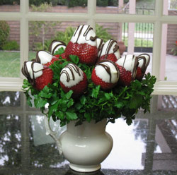 Chocolate Covered Strawberries in Fruit Arrangements