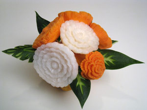 Yam and Turnip carved flowers with cucumber leaves