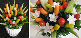 how to make flowers from fruits and vegetables